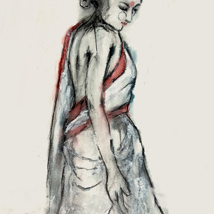 Indian Lady - 7 by MADURAI GANESH, Expressionism Painting, Watercolor and charcoal on paper, Gray color