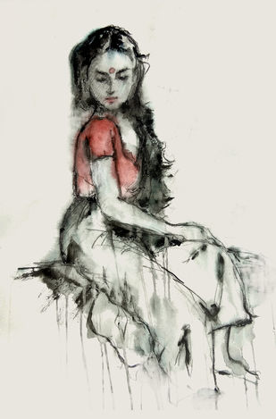 Indian Lady - 8 by MADURAI GANESH, Expressionism Painting, Watercolor and charcoal on paper, Gray color