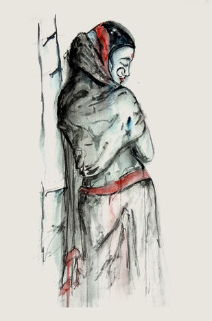 INDIAN LADY - 9 by MADURAI GANESH, Expressionism Painting, Watercolor and charcoal on paper, Gray color