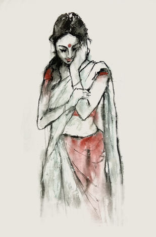 INDIAN LADY - 10 by MADURAI GANESH, Expressionism Painting, Watercolor and charcoal on paper, Gray color