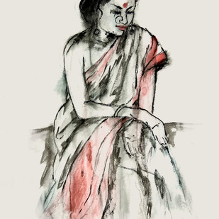 INDIAN LADY - 11 by MADURAI GANESH, Expressionism Painting, Watercolor and charcoal on paper, Gray color