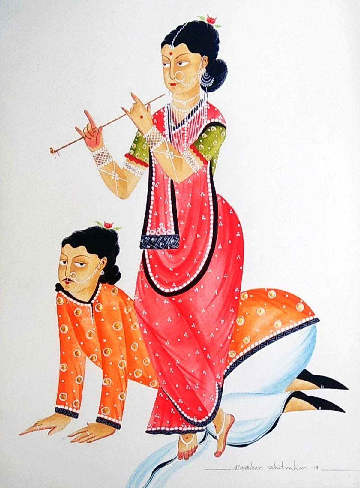 Babu dancing to Bibi's tune by Bhaskar Chitrakar, Folk Painting, Natural colours on paper, Gray color