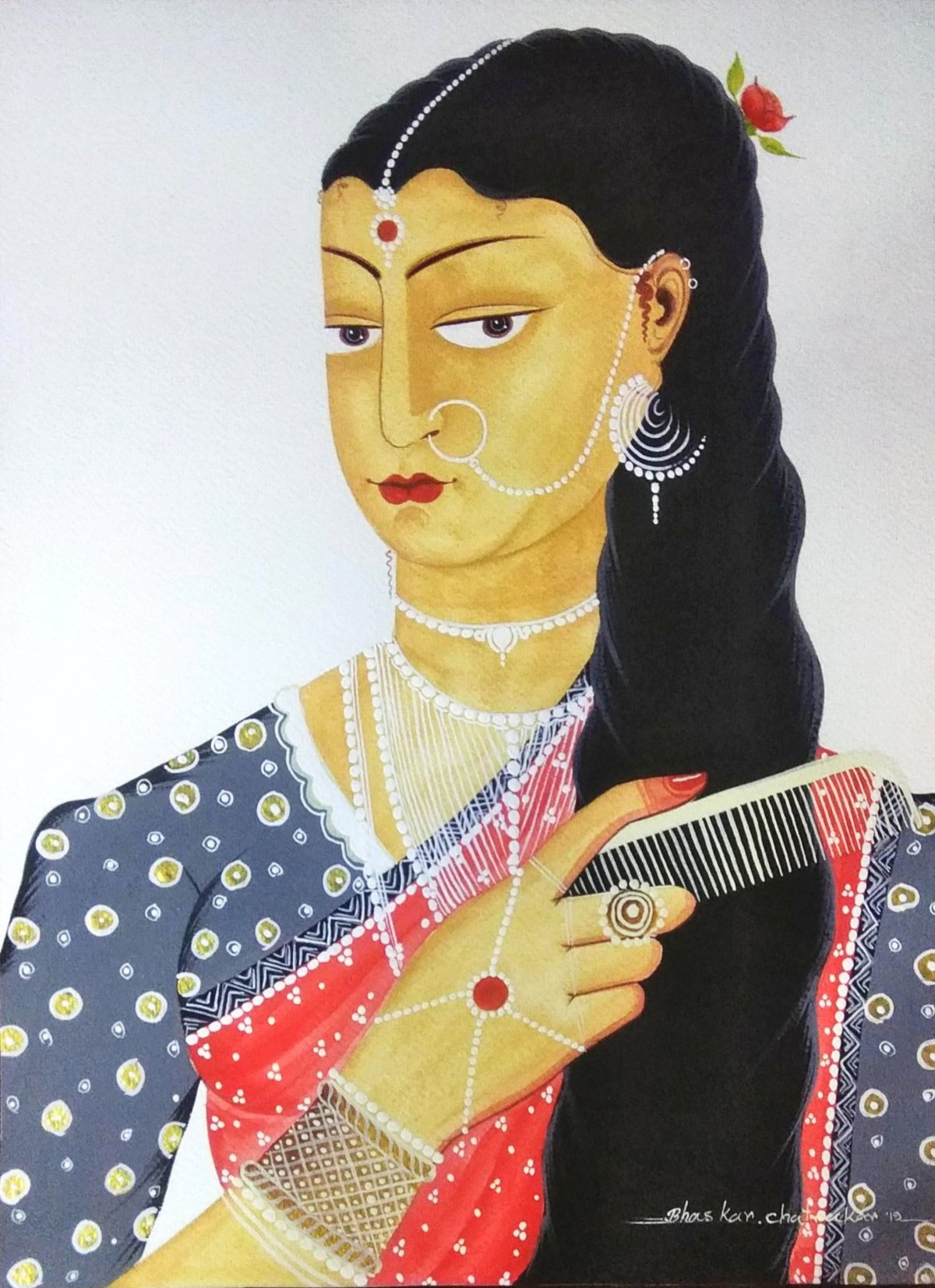 Bibi combing her hair, gazing at herself by Bhaskar Chitrakar, Folk Painting, Natural colours on paper, Gray color