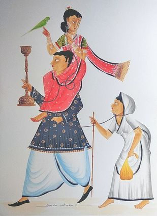 Hen-pecked Babu series by Bhaskar Chitrakar, Folk Painting, Natural colours on paper, Gray color