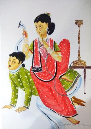 Bibi is Boss by Bhaskar Chitrakar, Folk Painting, Natural colours on paper, Gray color