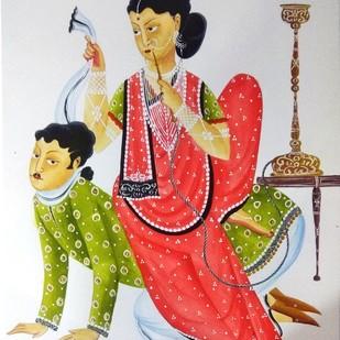 Bibi is Boss by Bhaskar Chitrakar, Folk Painting, Natural colours on paper, Gray color