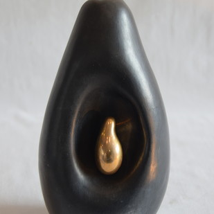 fruit, the womb of creation 2 - the noir series by Shweta Mansingka, Expressionism Sculpture   3D, Ceramic, Gray color