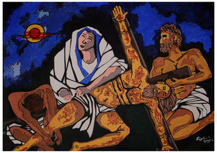 JESUS by Prajyot Kumar, Expressionism Painting, Acrylic on Canvas, Brown color