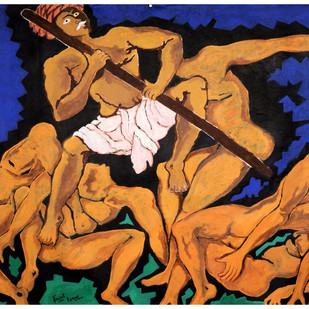 DEVILS BEATEN by Prajyot Kumar, Expressionism Painting, Acrylic on Canvas, Brown color