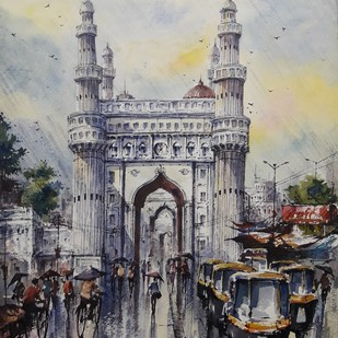 Hyderabad-1 by Shubhashis Mandal, Impressionism Painting, Watercolor on Paper, Gray color