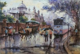 Victoria memorial in kolkata by Shubhashis Mandal, Impressionism Painting, Watercolor on Paper, Gray color