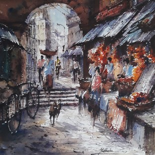 Flowers market by Shubhashis Mandal, Impressionism Painting, Watercolor on Paper, Gray color