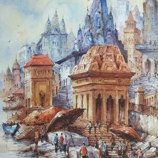 Benaras ghat-1 by Shubhashis Mandal, Impressionism Painting, Watercolor on Paper, Brown color