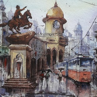 Sheymbazar by Shubhashis Mandal, Impressionism Painting, Watercolor on Paper, Gray color