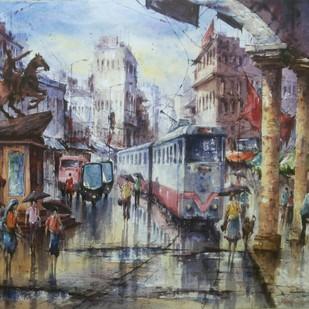 Sheymbazar-1 by Shubhashis Mandal, Impressionism Painting, Watercolor on Paper, Brown color