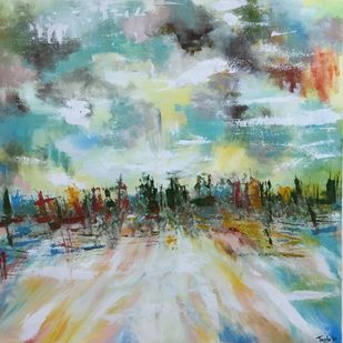 Approaching Horizon by Tvesha Singh, Abstract Painting, Acrylic on Canvas, Cyan color