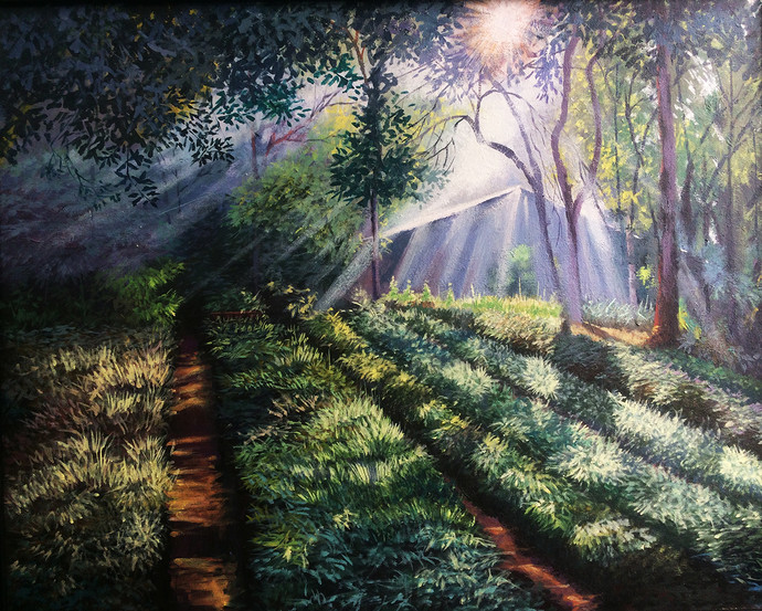 Morning Motivation 3 by Pradip Kate, Impressionism Painting, Acrylic on Canvas, Green color