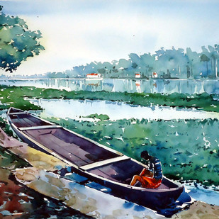 Waiting by Raji Pavithran, Impressionism Painting, Watercolor on Paper, Green color