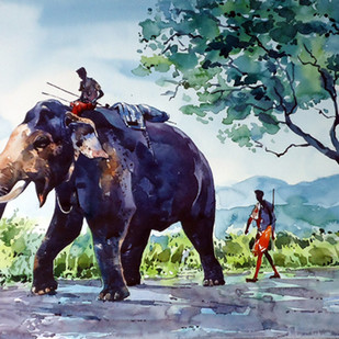 Elephant walk by Raji Pavithran, Impressionism Painting, Watercolor on Paper, Green color