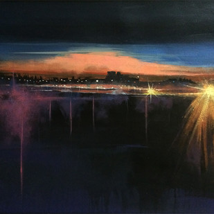 Citylights by Pradip Kate, Impressionism Painting, Acrylic on Canvas, Blue color