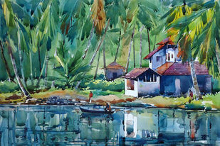 REFLECTIONS by Raji Pavithran, Impressionism Painting, Watercolor on Paper, Green color