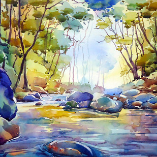 MORNING FLOW by Raji Pavithran, Impressionism Painting, Watercolor on Paper, Blue color