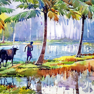 Sea Village by Raji Pavithran, Impressionism Painting, Watercolor on Paper, Beige color