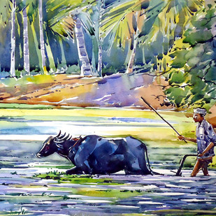 Life by Raji Pavithran, Impressionism Painting, Watercolor on Paper, Beige color