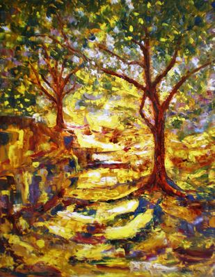 Path Way 4 (Dappled path Series) by Deepa Kern, Expressionism Painting, Oil on Canvas, Brown color