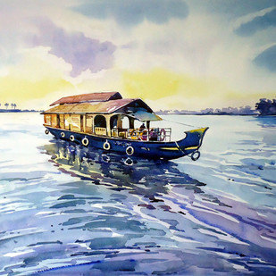 To The Destination by Raji Pavithran, Impressionism Painting, Watercolor on Paper, Cyan color