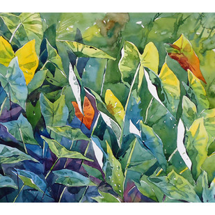 Morning Beauty by Raji Pavithran, Impressionism Painting, Watercolor on Paper, Green color