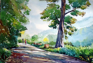 MORNING by Raji Pavithran, Impressionism Painting, Watercolor on Paper, Green color