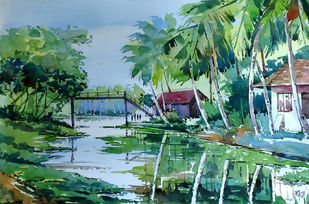 The village house by Raji Pavithran, Impressionism Painting, Watercolor on Paper, Green color