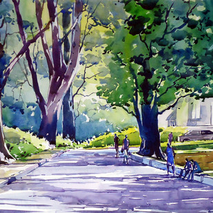 Morning Light by Raji Pavithran, Impressionism Painting, Watercolor on Paper, Green color
