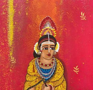 Chhattisgarih Tribal lady by Nandini, Traditional Painting, Acrylic on Canvas, Red color
