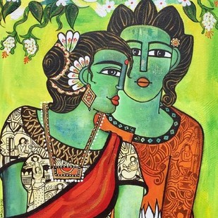 tribal couple by Nandini, Decorative Painting, Acrylic on Canvas, Green color