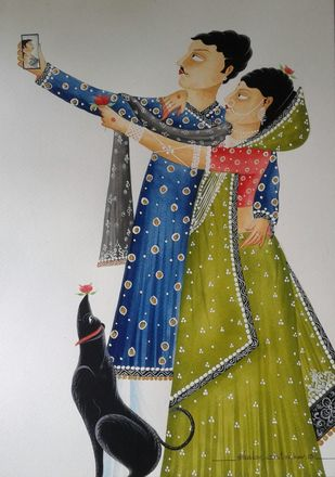 "Babu-Bibi taking a ""selfie"" by Bhaskar Chitrakar, Folk Painting, Natural colours on paper, Gray color"