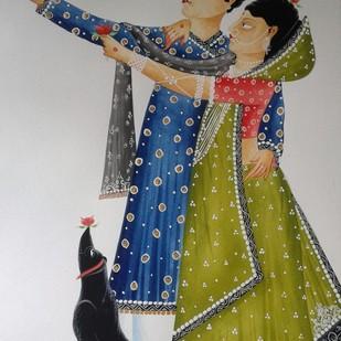 "Babu-Bibi taking a ""selfie"" by Bhaskar Chitrakar, Folk Painting, Natural colours on paper, Gray color"