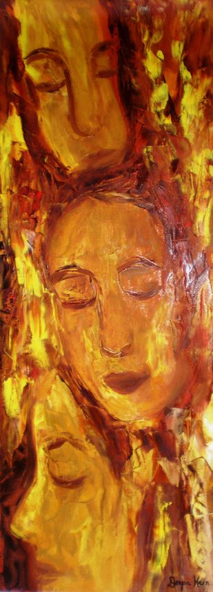 Faces by Deepa Kern, Expressionism Painting, Oil on Canvas, Brown color
