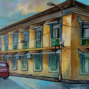 police headquarters, Panjim by Manuela Gomes, Impressionism Painting, Acrylic on Canvas, Green color