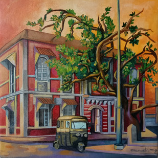 Post office, Panjim by Manuela Gomes, Impressionism Painting, Acrylic on Canvas, Brown color