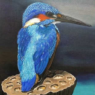 Birds painting by Rajshree Mishra, Expressionism Painting, Acrylic on Canvas, Blue color