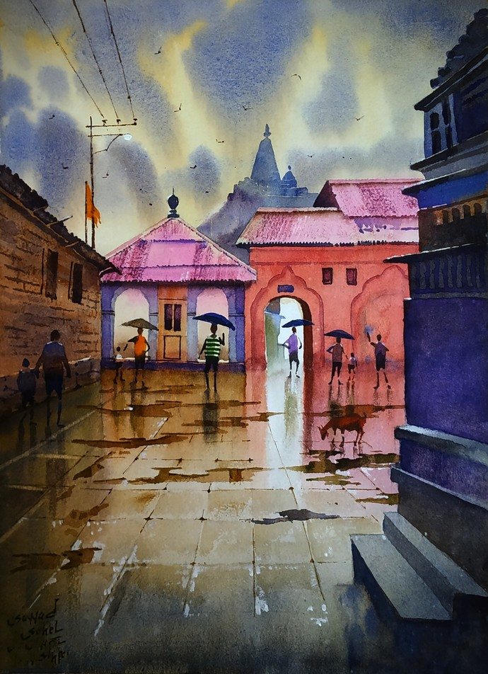 Monsoon memories by Sohel Sayyad , Impressionism Painting, Watercolor on Paper, Brown color