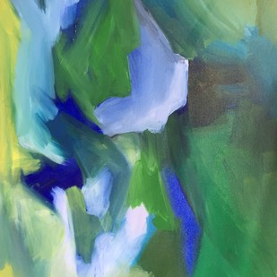 Meadows by Vernika, Abstract Painting, Acrylic on Canvas, Green color