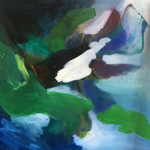 The green lands by Vernika, Abstract Painting, Acrylic on Canvas, Green color