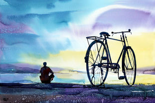 Hopeful Morning by Raji Pavithran, Impressionism Painting, Watercolor on Paper, Cyan color