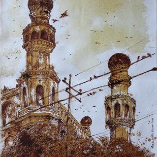 HYD Diary_40 by Debabrata Biswas, Impressionism Painting, Acrylic & Ink on Canvas, Brown color