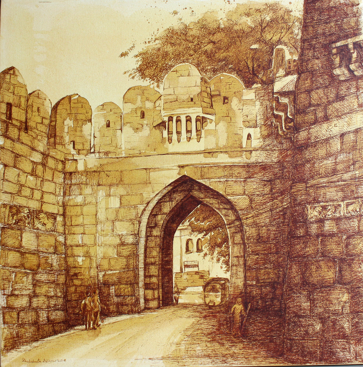 HYD Diary_22 by Debabrata Biswas, Impressionism Painting, Acrylic & Ink on Canvas, Brown color