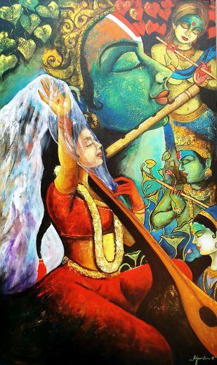 Meera ke krishna 7 by Arjun das, Traditional Painting, Acrylic on Canvas, Brown color