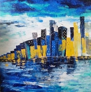 Skyscrapers by Unnati S Khare, Expressionism Painting, Acrylic on Canvas, Blue color
